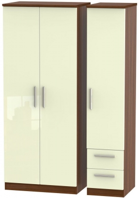 Knightsbridge 3 Door 2 Right Drawer Wardrobe - High Gloss Cream and Noche Walnut