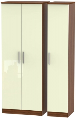 Knightsbridge 3 Door Tall Wardrobe - High Gloss Cream and Noche Walnut