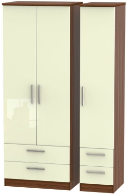 Knightsbridge 3 Door 4 Drawer Tall Wardrobe - High Gloss Cream and Noche Walnut