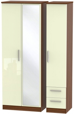 Knightsbridge 3 Door 2 Right Drawer Tall Combi Wardrobe - High Gloss Cream and Noche Walnut