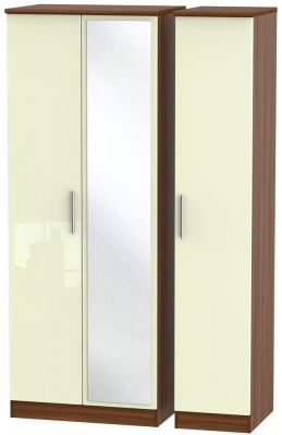 Knightsbridge 3 Door Tall Mirror Wardrobe - High Gloss Cream and Noche Walnut