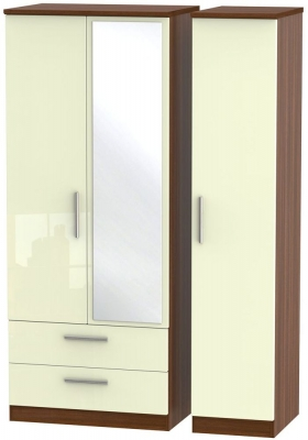 Knightsbridge 3 Door 2 Left Drawer Combi Wardrobe - High Gloss Cream and Noche Walnut