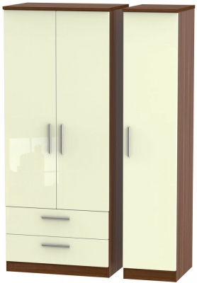 Knightsbridge 3 Door 2 Left Drawer Wardrobe - High Gloss Cream and Noche Walnut
