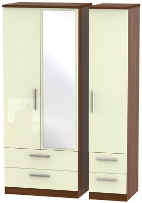Knightsbridge 3 Door 4 Drawer Combi Wardrobe - High Gloss Cream and Noche Walnut