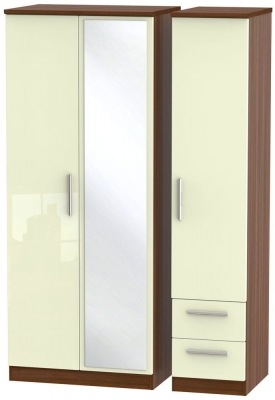 Knightsbridge 3 Door 2 Right Drawer Combi Wardrobe - High Gloss Cream and Noche Walnut