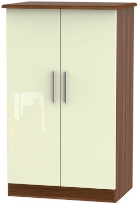 Knightsbridge 2 Door Midi Wardrobe - High Gloss Cream and Noche Walnut