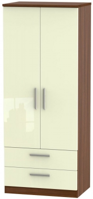 Knightsbridge 2 Door 2 Drawer Wardrobe - High Gloss Cream and Noche Walnut
