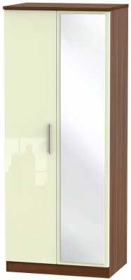 Knightsbridge 2 Door Mirror Wardrobe - High Gloss Cream and Noche Walnut