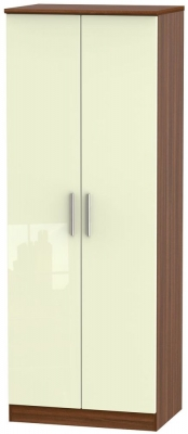 Knightsbridge 2 Door Tall Wardrobe - High Gloss Cream and Noche Walnut