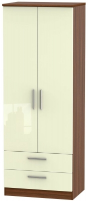 Knightsbridge 2 Door 2 Drawer Tall Wardrobe - High Gloss Cream and Noche Walnut