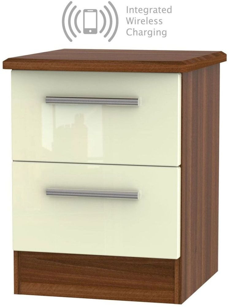 Knightsbridge 2 Drawer Bedside Cabinet with Integrated Wireless Charging - High Gloss Cream and Noche Walnut
