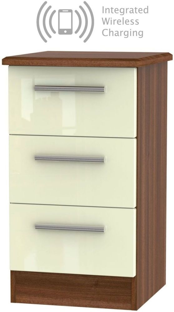 Knightsbridge 3 Drawer Bedside Cabinet with Integrated Wireless Charging - High Gloss Cream and Noche Walnut