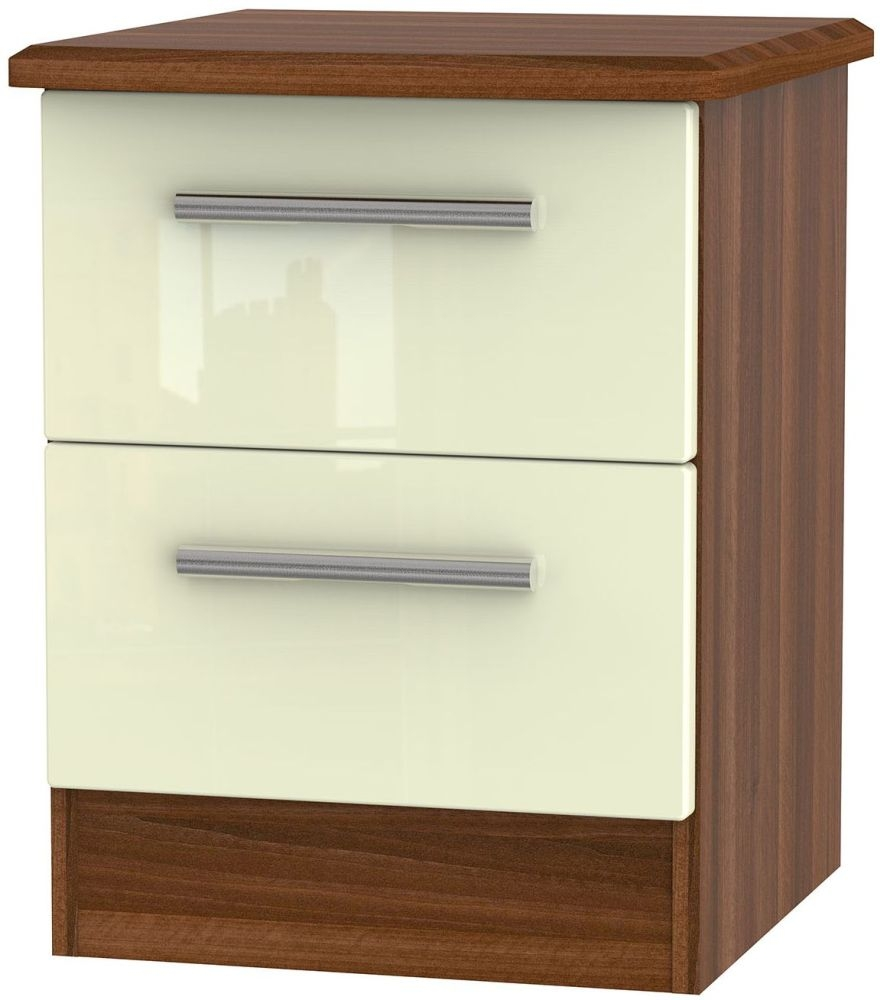 Knightsbridge High Gloss Cream and Noche Walnut Bedside Cabinet - 2 Drawer Locker