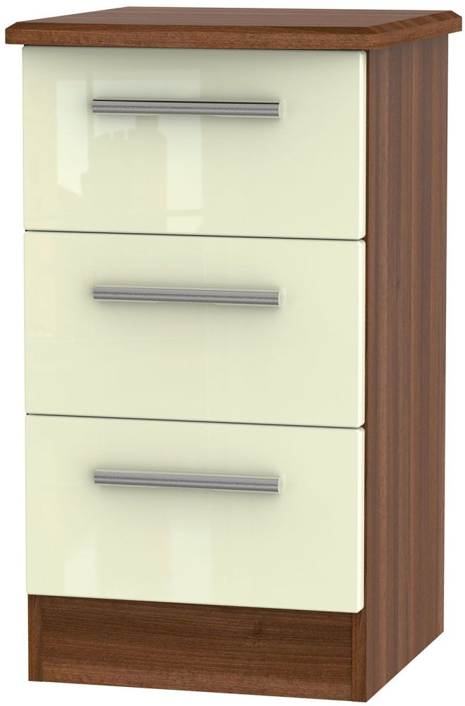 Knightsbridge High Gloss Cream and Noche Walnut Bedside Cabinet - 3 Drawer Locker