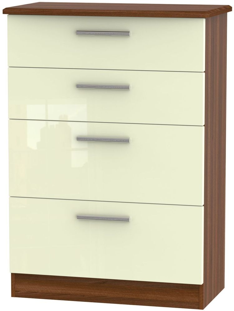 Knightsbridge High Gloss Cream and Noche Walnut Chest of Drawer - 4 Drawer Deep