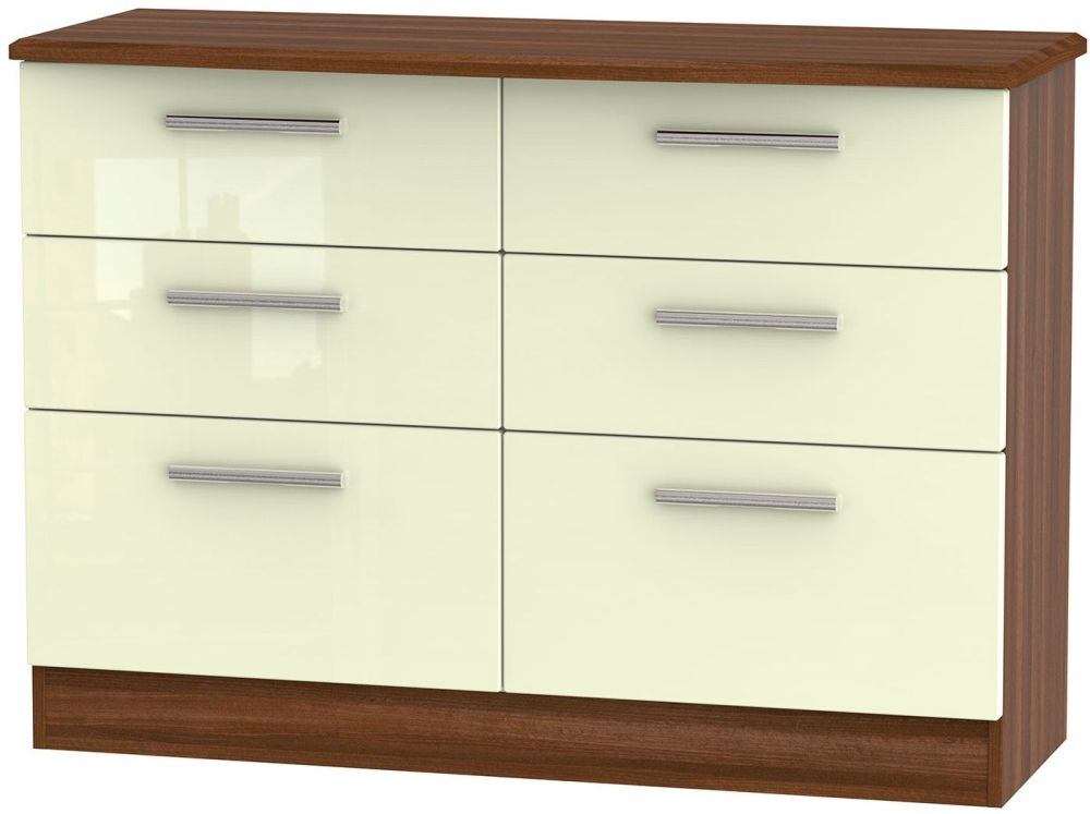 Knightsbridge 6 Drawer Midi Chest - High Gloss Cream and Noche Walnut