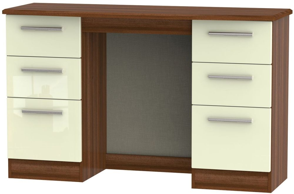 Knightsbridge High Gloss Cream and Noche Walnut Dressing Table - Knee Hole Double Pedestal