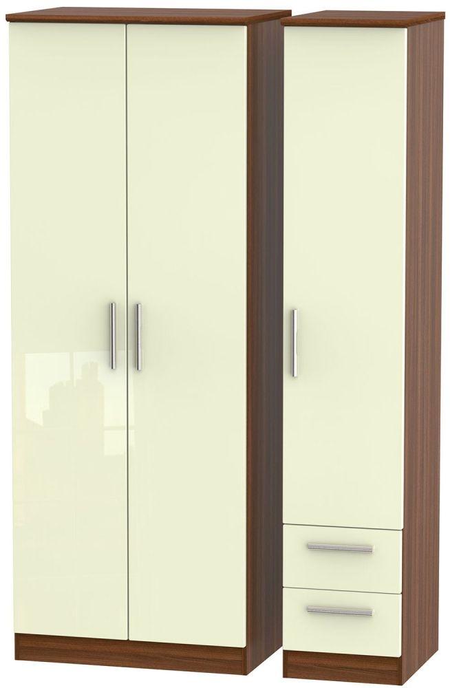 Knightsbridge High Gloss Cream and Noche Walnut Triple Wardrobe - Tall Plain with 2 Drawer