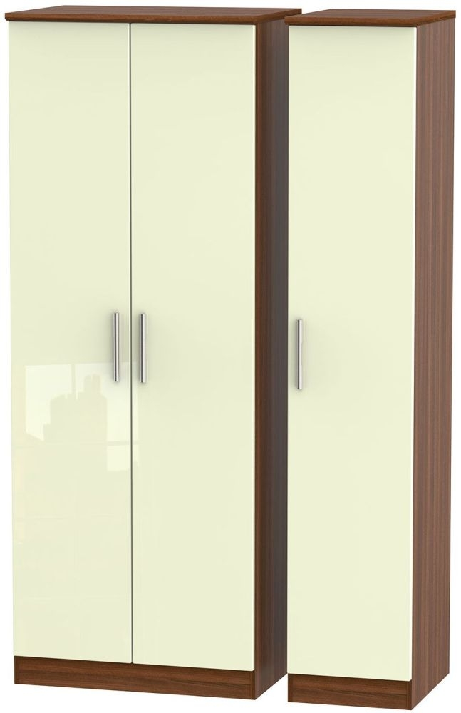 Knightsbridge High Gloss Cream and Noche Walnut Triple Wardrobe - Tall Plain