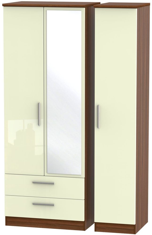 Knightsbridge High Gloss Cream and Noche Walnut Triple Wardrobe - Tall with 2 Drawer and Mirror