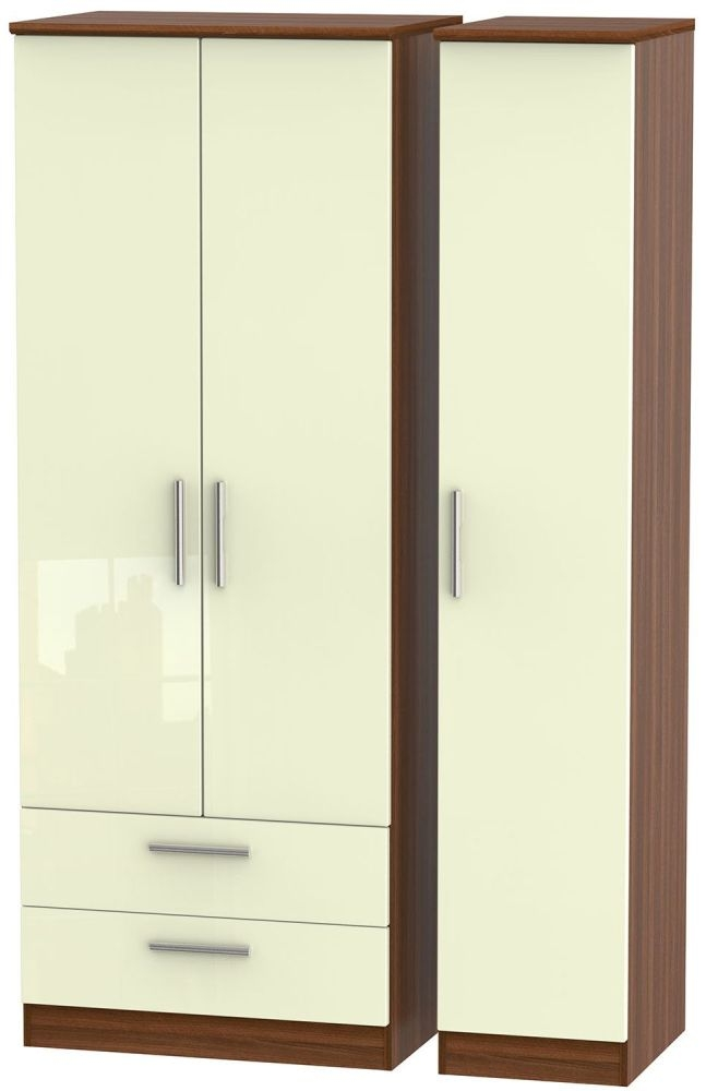 Knightsbridge High Gloss Cream and Noche Walnut Triple Wardrobe - Tall with 2 Drawer