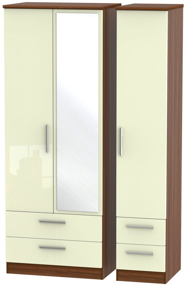 Knightsbridge High Gloss Cream and Noche Walnut Triple Wardrobe - Tall with Drawer and Mirror