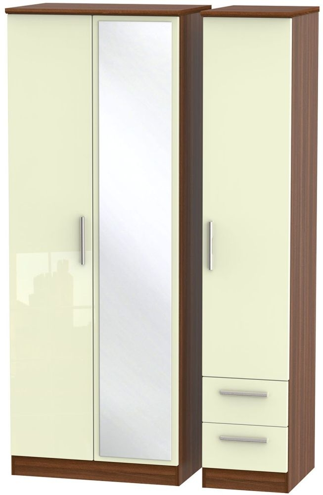 Knightsbridge High Gloss Cream and Noche Walnut Triple Wardrobe - Tall with Mirror and 2 Drawer