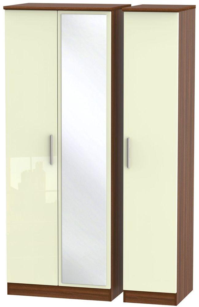 Knightsbridge High Gloss Cream and Noche Walnut Triple Wardrobe - Tall with Mirror