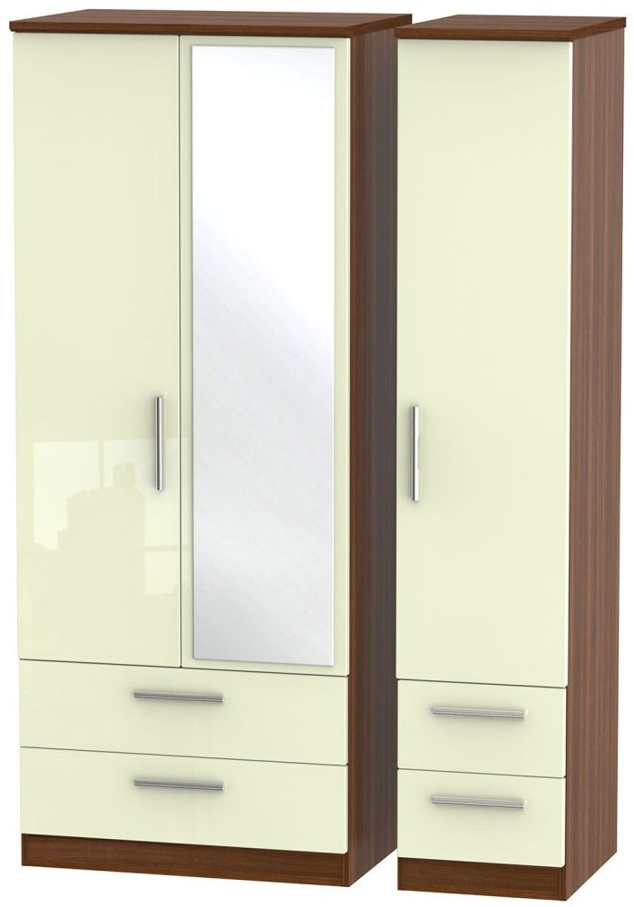 Knightsbridge High Gloss Cream and Noche Walnut Triple Wardrobe with Drawer and Mirror