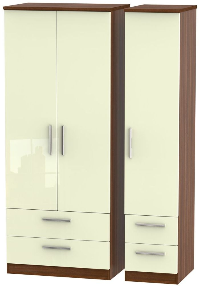Knightsbridge High Gloss Cream and Noche Walnut Triple Wardrobe with Drawer