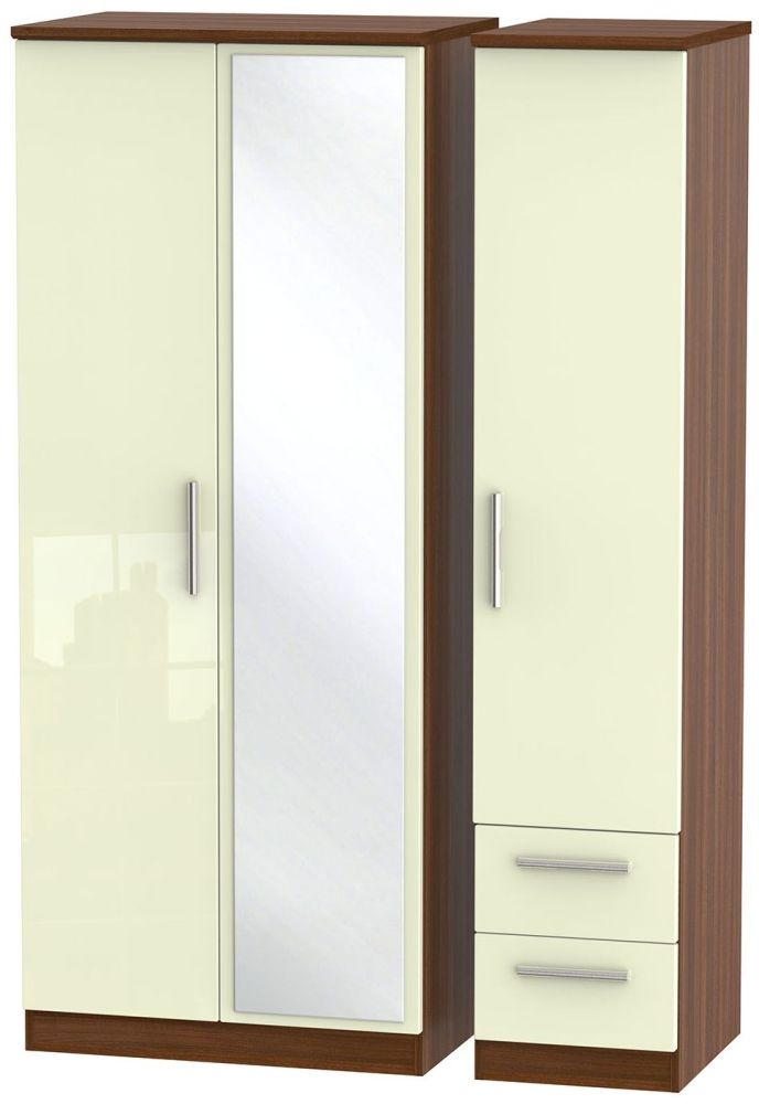 Knightsbridge High Gloss Cream and Noche Walnut Triple Wardrobe with Mirror and 2 Drawer