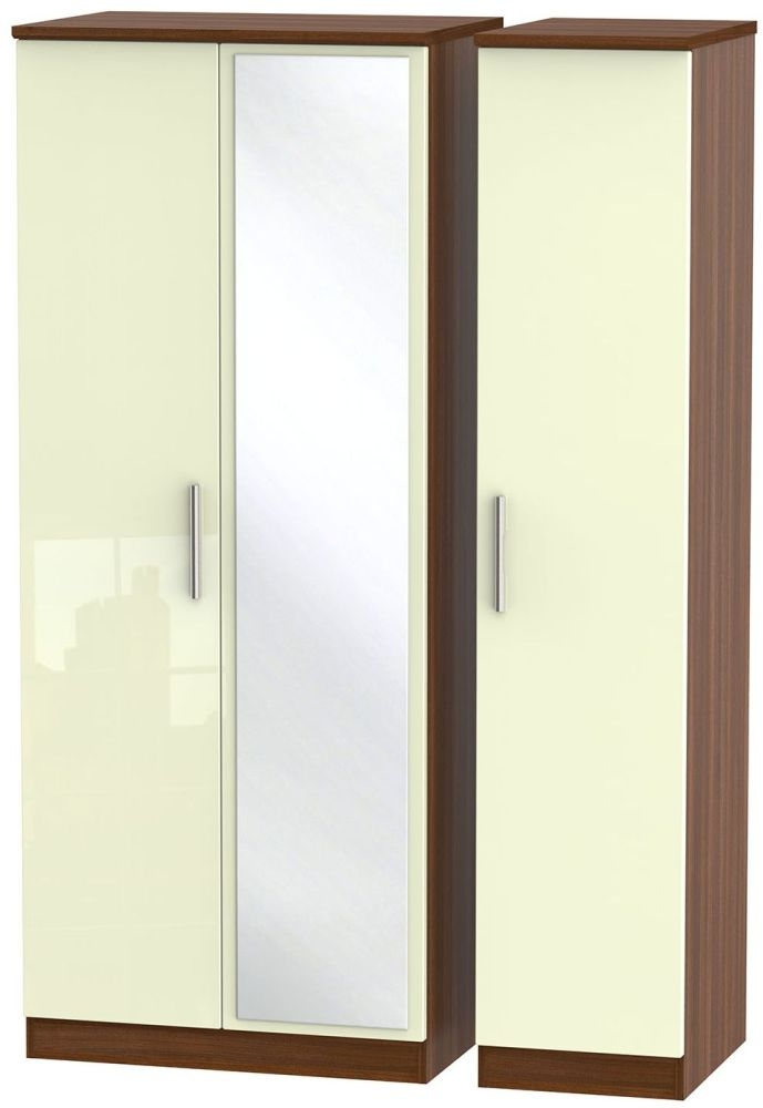 Knightsbridge High Gloss Cream and Noche Walnut Triple Wardrobe with Mirror