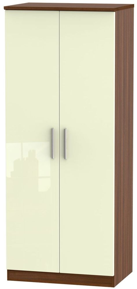 Knightsbridge High Gloss Cream and Noche Walnut Wardrobe - 2ft 6in Plain