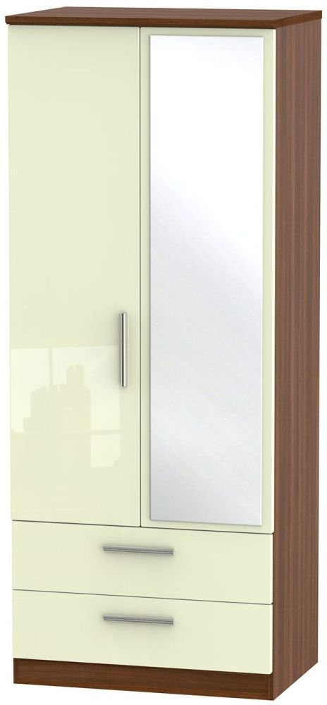 Knightsbridge High Gloss Cream and Noche Walnut Wardrobe - 2ft 6in with 2 Drawer and Mirror