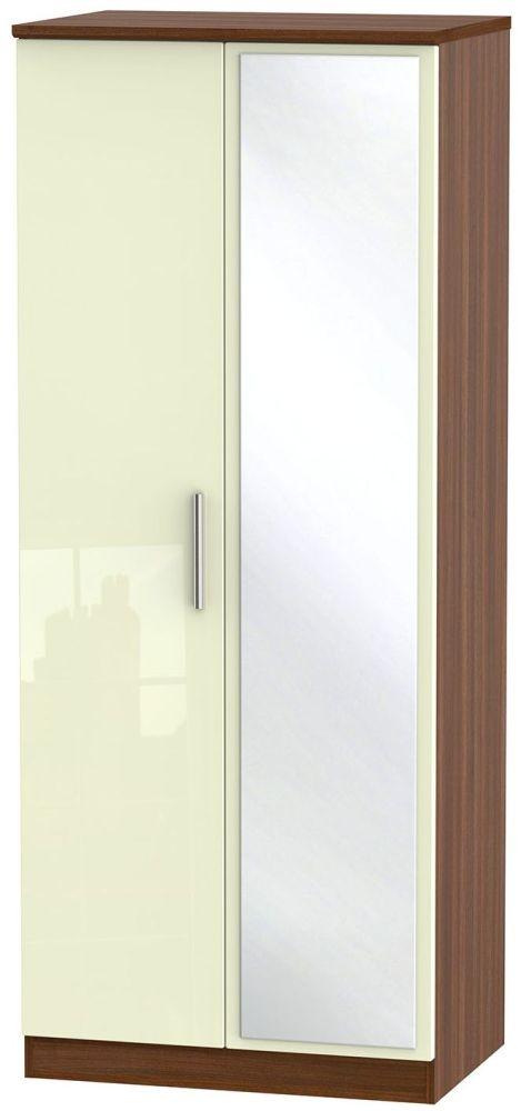 Knightsbridge High Gloss Cream and Noche Walnut Wardrobe - 2ft 6in with Mirror