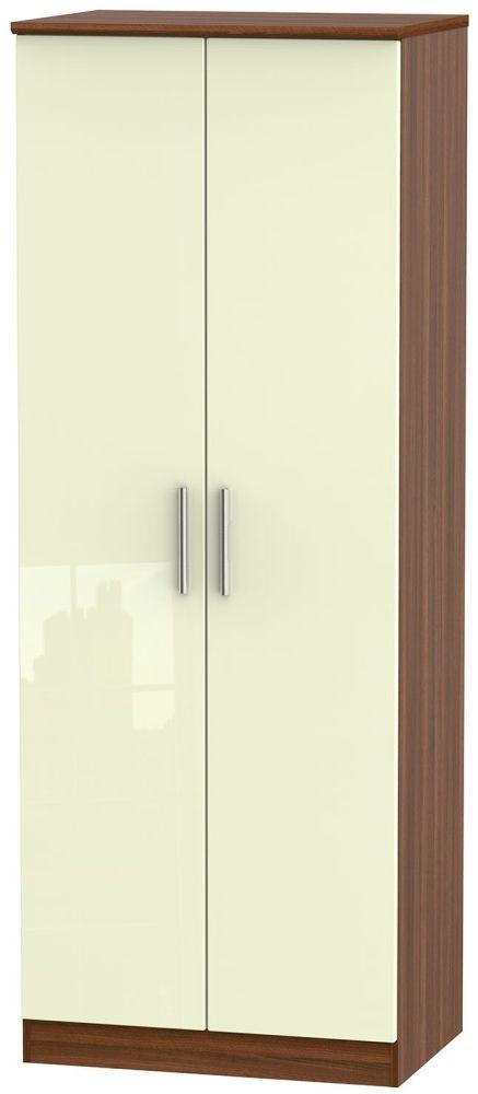 Knightsbridge High Gloss Cream and Noche Walnut Wardrobe - Tall 2ft 6in Plain