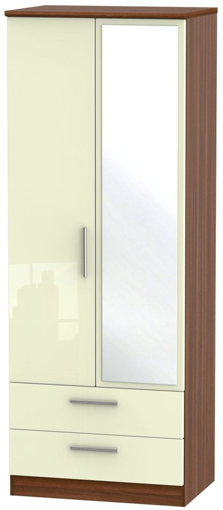 Knightsbridge High Gloss Cream and Noche Walnut Wardrobe - Tall 2ft 6in with 2 Drawer and Mirror