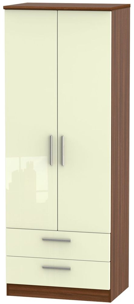Knightsbridge High Gloss Cream and Noche Walnut Wardrobe - Tall 2ft 6in with 2 Drawer