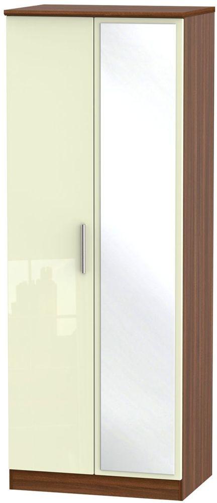 Knightsbridge High Gloss Cream and Noche Walnut Wardrobe - Tall 2ft 6in with Mirror