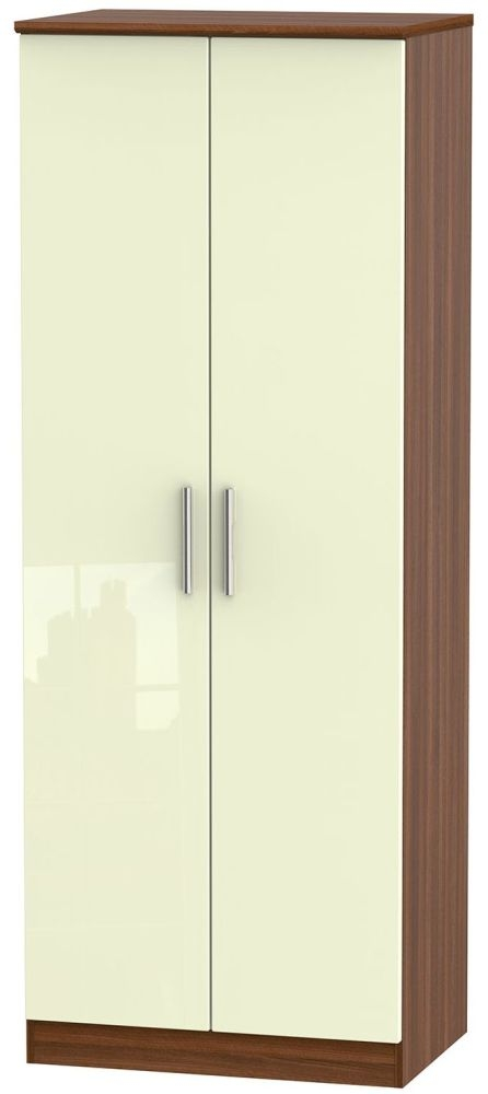 Knightsbridge High Gloss Cream and Noche Walnut Wardrobe - Tall 2ft 6in with Double Hanging