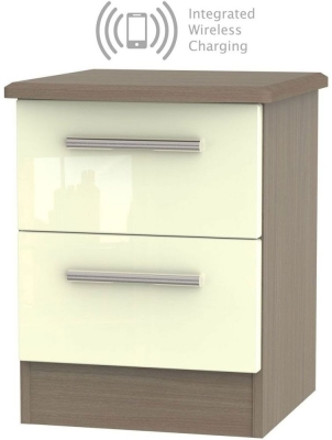 Knightsbridge 2 Drawer Bedside Cabinet with Integrated Wireless Charging - High Gloss Cream and Toronto Walnut