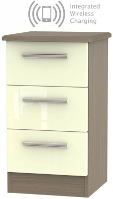 Knightsbridge 3 Drawer Bedside Cabinet with Integrated Wireless Charging - High Gloss Cream and Toronto Walnut