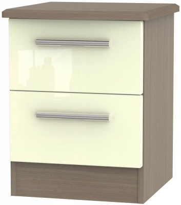 Knightsbridge 2 Drawer Bedside Cabinet - High Gloss Cream and Toronto Walnut