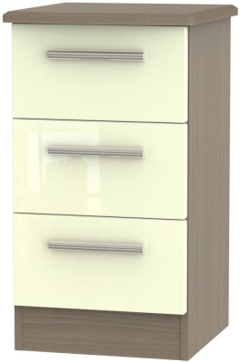 Knightsbridge 3 Drawer Bedside Cabinet - High Gloss Cream and Toronto Walnut