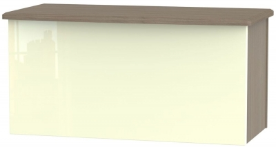 Knightsbridge High Gloss Cream and Toronto Walnut Blanket Box