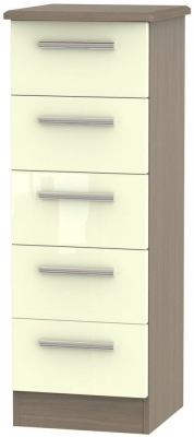 Knightsbridge 5 Drawer Tall Chest - High Gloss Cream and Toronto Walnut