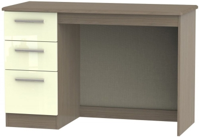Knightsbridge High Gloss Cream and Toronto Walnut Desk - 3 Drawer