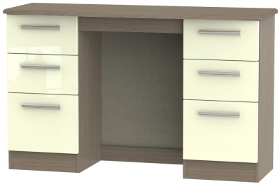 Knightsbridge Double Pedestal Dressing Table - High Gloss Cream and Toronto Walnut