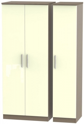 Knightsbridge High Gloss Cream and Toronto Walnut Triple Plain Wardrobe