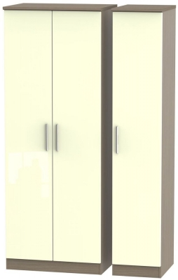 Knightsbridge High Gloss Cream and Toronto Walnut Triple Wardrobe - Tall Plain